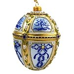 Faberge Inspired- Jeweled Egg Glass Ornament - Lt Blue